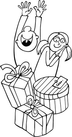 santa girl: Cartoon Illustration of Children Happy of Christmas or Birthday Presents for Coloring Book or Page