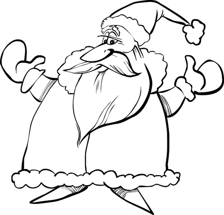 papa noel: Cartoon Illustration of Santa Claus or Father Christmas or Papa Noel for Coloring Book or Page Illustration