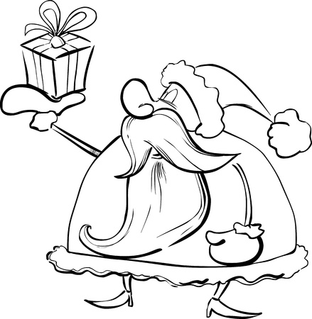 papa noel: Cartoon Illustration of Santa Claus or Father Christmas or Papa Noel with Special Present for Coloring Book or Page