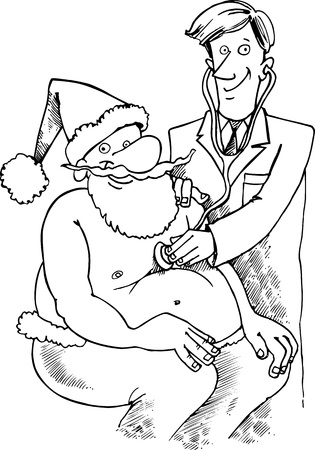 doctor visit: Cartoon Illustration of Santa Claus or Father Christmas or Papa Noel at doctor for examination for Coloring Book or Page