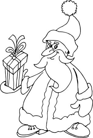 papa noel navidad: Ilustraci�n de dibujos animados de Santa Claus o Pap� Noel o Pap� Noel con regalo para colorear libro o p�gina Vectores
