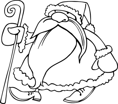 Cartoon Illustration of Santa Claus or Father Christmas or Papa Noel with Cane of Presents for Coloring Book or Page Vector