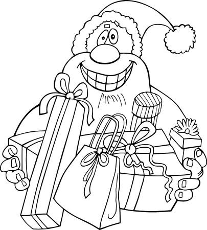 papa noel navidad: Ilustraci�n de dibujos animados de Santa Claus o Pap� Noel o Pap� Noel con regalos para colorear libro o p�gina