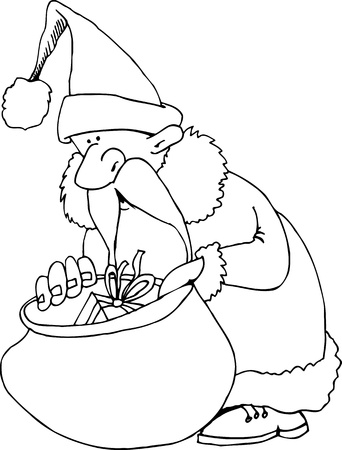 father christmas: Cartoon Illustration of Santa Claus or Father Christmas or Papa Noel with Sack of Presents for Coloring Book or Page