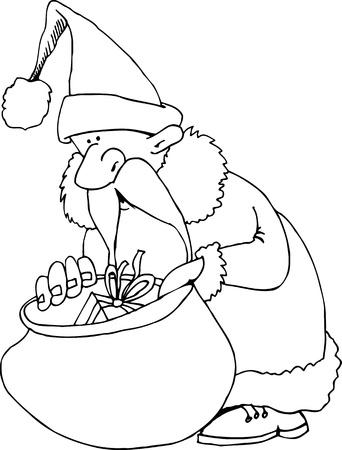 pere noel: Illustration de dessin animé de Santa Claus ou le Père Noël ou Papa Noël avec sac de cadeaux pour Coloring Book ou la page Illustration