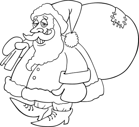 papa noel: Cartoon Illustration of Santa Claus or Father Christmas or Papa Noel with Sack of Presents for Coloring Book or Page