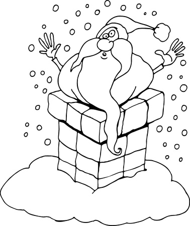 stuck: Cartoon Illustration of Santa Claus or Father Christmas or Papa Noel Stucked in Chimney for Coloring Book or Page