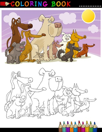 Coloring Book or Page Cartoon Illustration of Funny Sitting Dogs Group for Children Vector