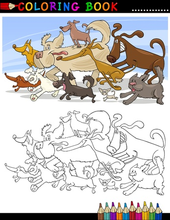 mongrel: Coloring Book or Page Cartoon Illustration of Funny Running Dogs Group for Children Illustration