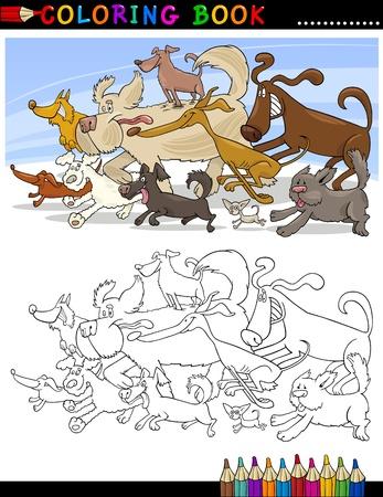 dibujos para colorear: Libro para colorear o ilustraci�n de dibujos animados divertido del Grupo P�gina de Ejecuci�n de perros para los ni�os