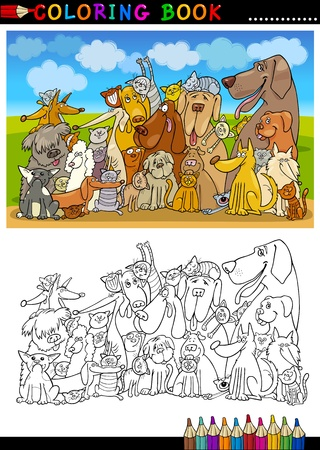 group of pets: Coloring Book or Page Cartoon Illustration of Funny Sitting Dogs Group against Blue Sky for Children