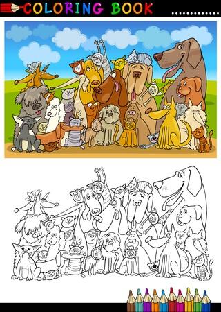 dibujos para colorear: Libro para colorear o ilustración de dibujos animados Página de Funny Grupo Sentado Perros contra el cielo azul de la Infancia