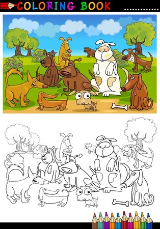 Coloring Book or Page Cartoon Illustration of Funny Dogs Group against Blue Sky for Children Stock Vector - 15406226