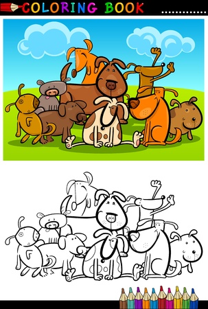 group of pets: Coloring Book or Page Cartoon Illustration of Funny Dogs Group against Blue Sky for Children