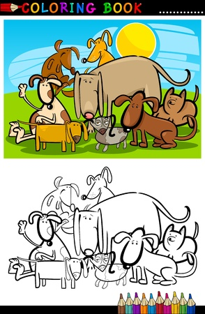 Coloring Book or Page Cartoon Illustration of Funny Dogs Group against Blue Sky for Children Stock Vector - 15406228