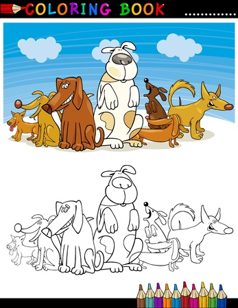 pointer dog: Coloring Book or Page Cartoon Illustration of Funny Dogs Group against Blue Sky for Children