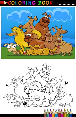 Coloring Book or Page Cartoon Illustration of Funny Dogs Group against Blue Sky for Children Stock Vector - 15406231