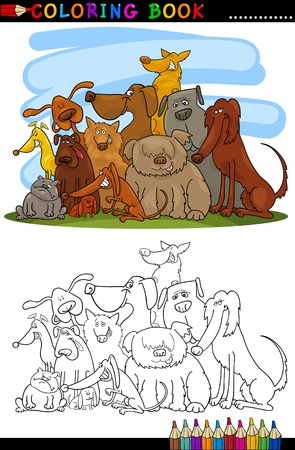 Coloring Book or Page Cartoon Illustration of Cute Dogs Group for Children Vector