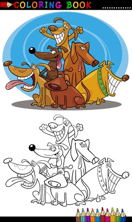 sit stay: Coloring Book or Page Cartoon Illustration of Funny Dogs Group for Children