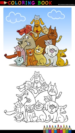 shaggy dog: Coloring Book or Page Cartoon Illustration of Funny Dogs Group for Children