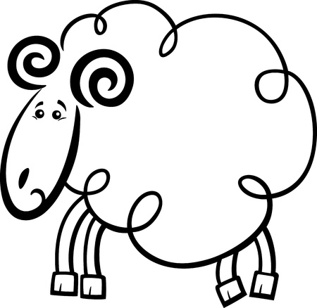 Cartoon Illustration Of Happy Ram For Coloring Book Royalty Free ...