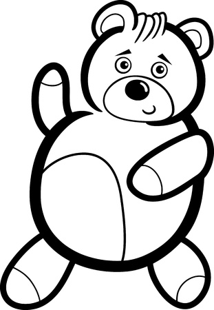 colorless: Illustration of Cute Teddy Bear Cartoon Character for Coloring Book or Page Illustration