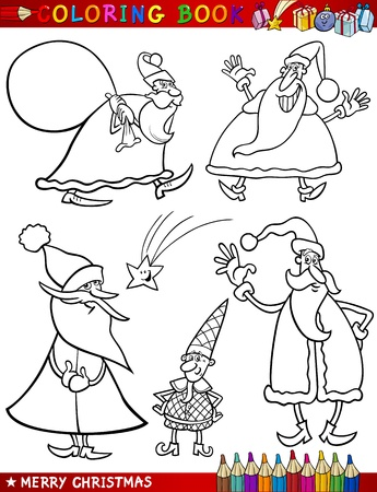 for children toys: Coloring Book or Page Cartoon Illustration of Christmas Themes with Santa Claus or Papa Noel and Xmas Decorations and Characters for Children