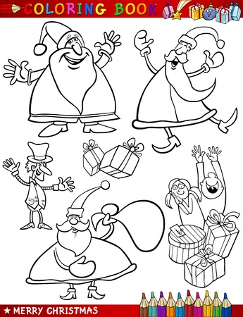 papa noel: Coloring Book or Page Cartoon Illustration of Christmas Themes with Santa Claus or Papa Noel and Xmas Decorations and Characters for Children