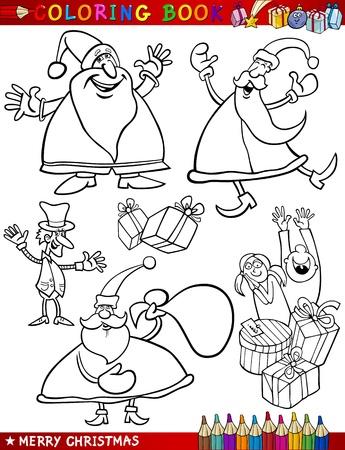 papa noel navidad: Libro para colorear o ilustraci�n de dibujos animados de Navidad Temas p�gina con Santa Claus o Pap� Noel y Decoraciones de Navidad para los ni�os y Personajes