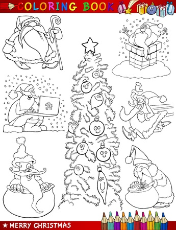 Coloring Book or Page Cartoon Illustration of Christmas Themes with Santa Claus or Papa Noel and Xmas Decorations and Characters for Children Stock Vector - 15430669