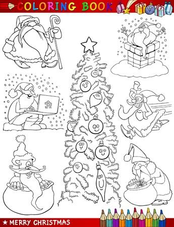 toy sack: Libro para colorear o ilustraci�n de dibujos animados de Navidad Temas p�gina con Santa Claus o Pap� Noel y Decoraciones de Navidad para los ni�os y Personajes