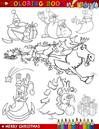 Coloring Book or Page Cartoon Illustration of Christmas Themes with Santa Claus or Papa Noel and Xmas Decorations and Characters for Children Stock Vector - 15430670