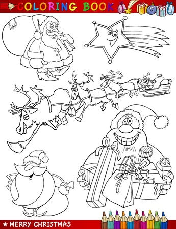 coloring pages: Coloring Book or Page Cartoon Illustration of Christmas Themes with Santa Claus or Papa Noel and Xmas Decorations and Characters for Children