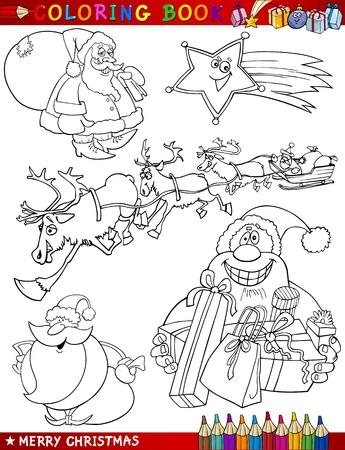 dibujos para colorear: Libro para colorear o ilustraci�n de dibujos animados de Navidad Temas p�gina con Santa Claus o Pap� Noel y Decoraciones de Navidad para los ni�os y Personajes