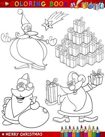 toy sack: Coloring Book or Page Cartoon Illustration of Christmas Themes with Santa Claus or Papa Noel and Xmas Decorations and Characters for Children