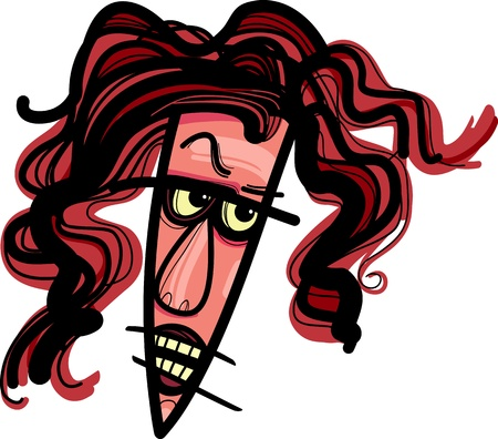 livid: Sketch Drawing Illustration of Cartoon Angry Woman Caricature Illustration