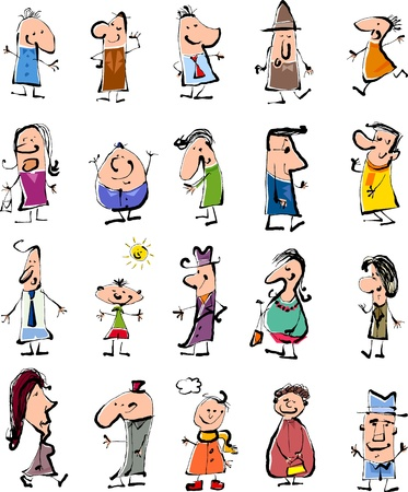 tall man: Cartoon Background Illustration of Happy Doodle People Sketch Set