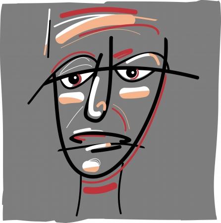 visage peint: Illustration de dessin anim� Doodle Sketch de Painted Face tribal Illustration