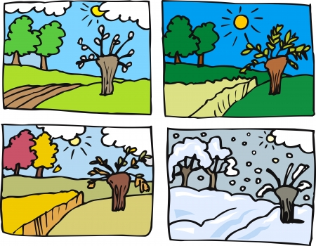 seasons: Cartoon Illustration of Rural Landscape in Four Seasons  Spring, Summer, Autumn or Fall and Winter