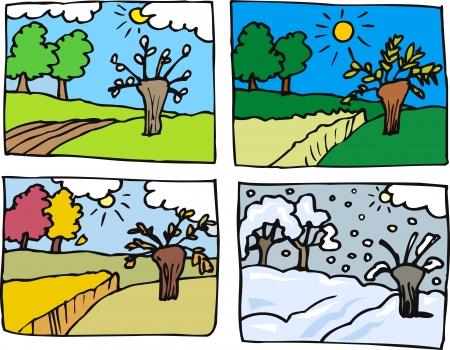 estaciones del a�o: Cartoon Ilustraci�n del paisaje rural en Four Seasons Primavera, Verano, Oto�o o Fall and Winter Vectores