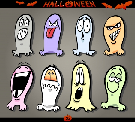 sneer: Cartoon Illustration of Halloween Themes, Ghosts Emotions Funny Set