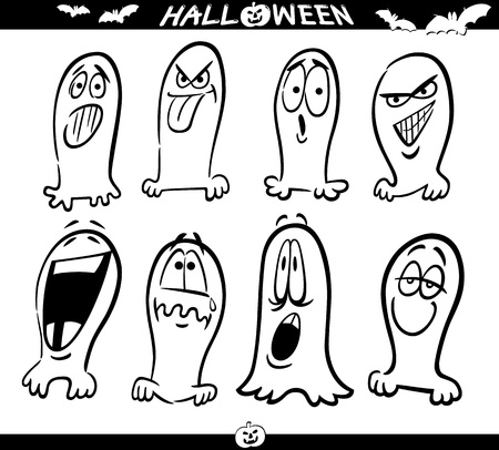 Cartoon Illustration of Halloween Themes, Ghosts Emotions Funny Set for Coloring Book or Page Stock Vector - 15555271