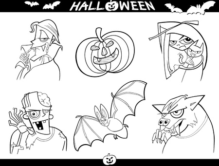 Cartoon Illustration of Halloween Themes, Vampire, Zombie, Witch, Werewolf, Pumpkin and Bat Funny Set for Coloring Book or Page Vector