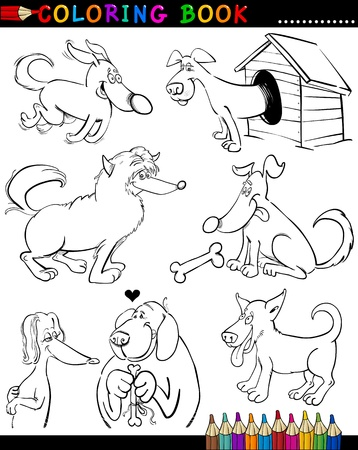 Coloring Book or Page Cartoon Illustration of Funny Dogs and Puppies for Children Stock Vector - 15590005