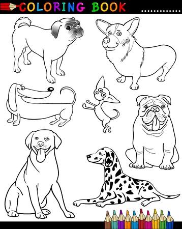dalmata: Coloring Book o Cartoon Illustrazione Pagina di divertenti cani di razza per i bambini