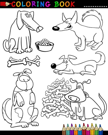 Coloring Book or Page Cartoon Illustration of Funny Dogs and Puppies for Children Stock Vector - 15589989