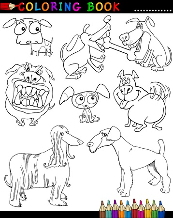Coloring Book or Page Cartoon Illustration of Funny Dogs and Puppies for Children Stock Vector - 15590004