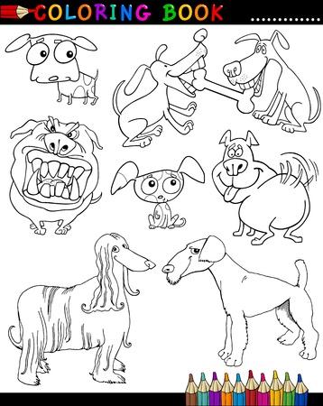 afghane: Malbuch oder Page Cartoon Illustration von Funny Hunde und Welpen f�r Kinder