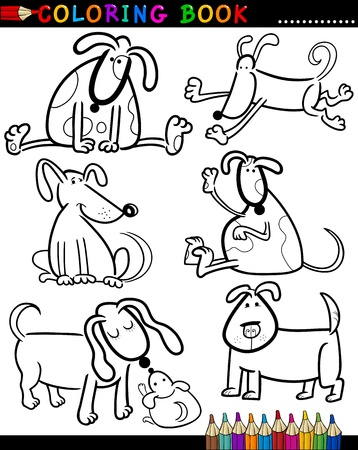 Coloring Book or Page Cartoon Illustration of Funny Dogs and Puppies for Children Vector