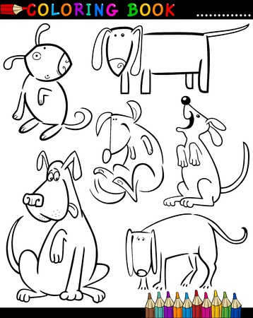Coloring Book or Page Cartoon Illustration of Funny Dogs and Puppies for Children Stock Vector - 15589999